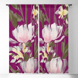 tulips on plum Blackout Curtain