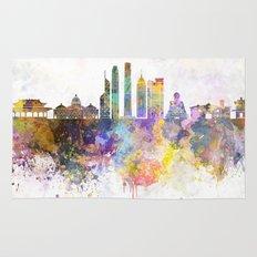 Hong Kong V2 skyline in watercolor background Rug