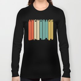 Retro 1970's Style Anchorage Alaska Skyline Long Sleeve T-shirt