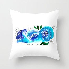 Three Blue Christchurch Roses Throw Pillow