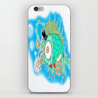 steam punk iPhone & iPod Skins featuring Whimsical Steam Punk Fish by J&C Creations