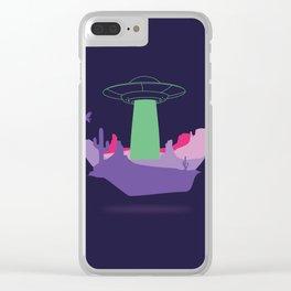 Desert ufo island Clear iPhone Case
