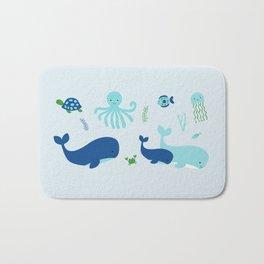 Blue Nautical Under The Sea Animals Bath Mat