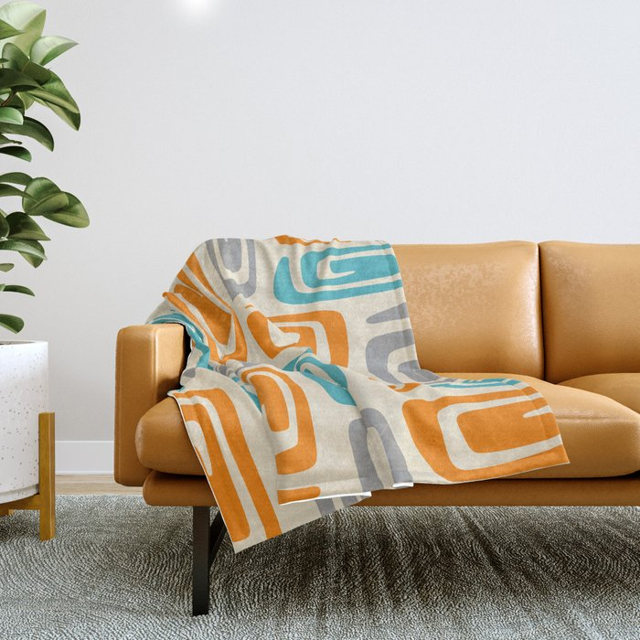 Mid Century Modern Cosmic Abstract 740 Orange Blue and Gray Throw Blanket