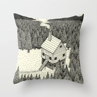 middle earth Throw Pillows featuring 'The Middle Of Nowhere'  by Alex G Griffiths