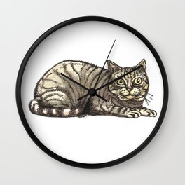 Tabby Cat with a Mysterious Smile Wall Clock