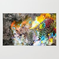 leopard Area & Throw Rugs featuring LEOPARD by sametsevincer