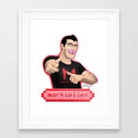 markiplier Framed Art Prints featuring Markiplier (Warfstache) by that Random Person
