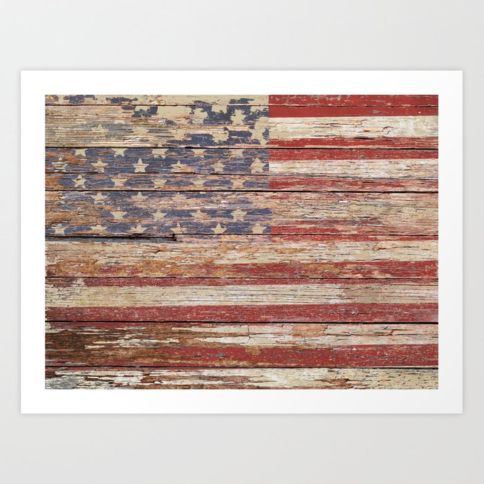 New Americana Rustic Flag Country Home Decor Patriotic Art A643 Print By Nicolphotographicart