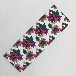 Bright Floral with Bees Yoga Mat