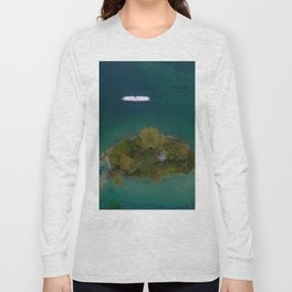 königssee waterfall alps bayern forrest drone aerial shot nature wanderlust boat mountains island Long Sleeve T-shirt