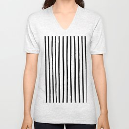 Vertical Black and White Watercolor Stripes Unisex V-Neck