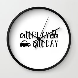 All Play All Day Kids Quote Art Wall Clock