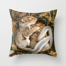 Two baby squirrels cuddling as they sleep Throw Pillow
