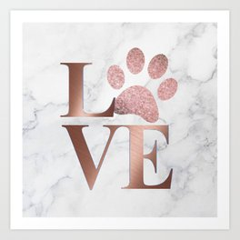 Love is a Four Letter Word - Rose Gold and Marble Art Print