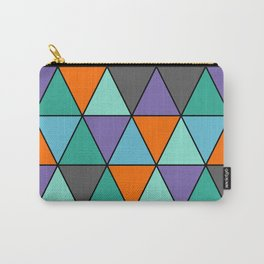 Blue, Purple, Orange and Grey Cool Triangles Pattern Carry-All Pouch