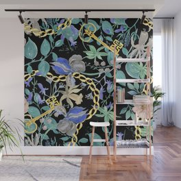 Watercolor painting seamless pattern with beautiful vintage flowers and gold key,chain Wall Mural