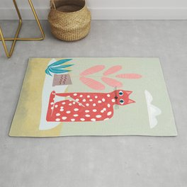 Red Dotted Cat Rug