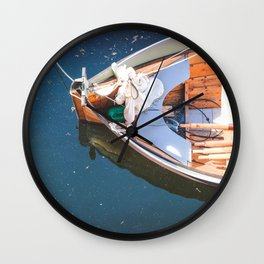 Nautical Fine Art Photography Boat in Water Wall Clock