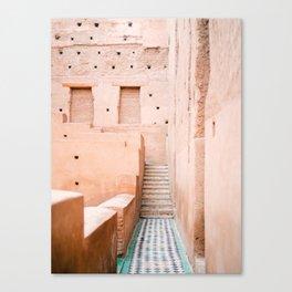 Colors of Marrakech Morocco - El badi palace photo print | Pastel travel photography art Canvas Print