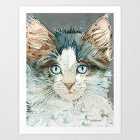 leah flores Art Prints featuring Leah by Cat Art by Lori Alexander
