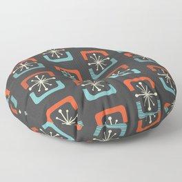 Mid Century Modern Starburst Shells Blue and Orange Floor Pillow