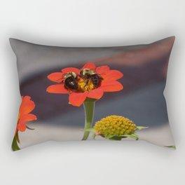 Bumble Bees Sharing a Zinnia Rectangular Pillow