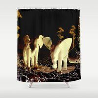 baby elephant Shower Curtains featuring Baby elephant by nicky2342