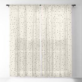 ALIAS small grey black polka dots on plain vanilla cream bavkground Sheer Curtain