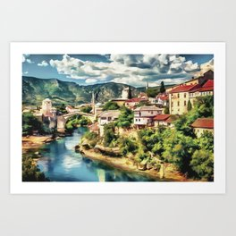 Mostar Old Bridge painting, old city of Mostar scenery, Stari Most Bosnia, nature travel art poster Art Print