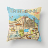 cuba Throw Pillows featuring Cuba by Sahily Tallet Yip