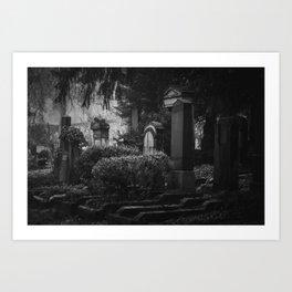 Dramatic scary monochrome cemetery. Dark gothic vintage graveyard. Fear death noir horror tombstone. Art Print