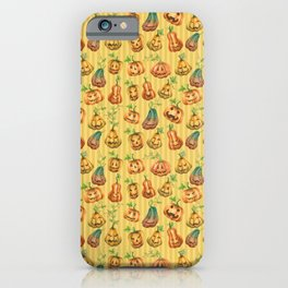 Cute Halloween Watercolor Jack-O-Lanterns | Pumpkins Pattern with Striped Background iPhone Case