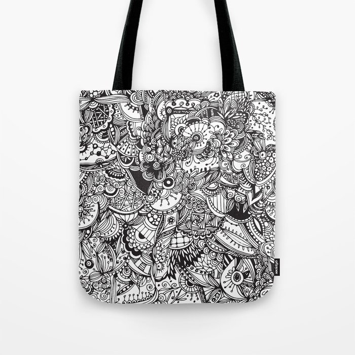 Detailed rectangle, black and white Tote Bag