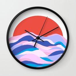 lucia, orange sunset ocean waves Wall Clock