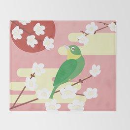 Little Bird on a Plum Tree Throw Blanket