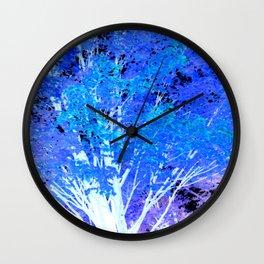 Blue Violet tree leaves Wall Clock