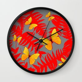 Red Fern Fronds With Yellow Butterflies & Grey Color Wall Clock