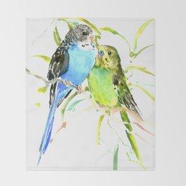Parakeets Throw Blanket