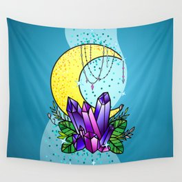 Mystical Crystals and Moon Wall Tapestry