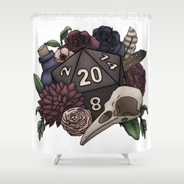 Necromancer D20 Tabletop RPG Gaming Dice Shower Curtain