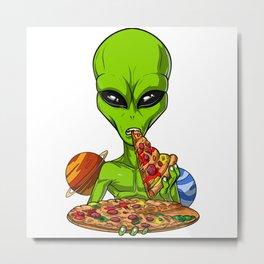 Alien Eating Pizza Metal Print