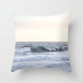 Sea Waves Modern and Vintage Beach Aesthetic Photography of Artsy Light Yellow Pink Sky Throw Pillow
