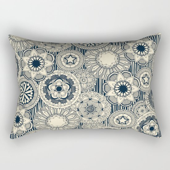 mandala cirque indigo cream Rectangular Pillow