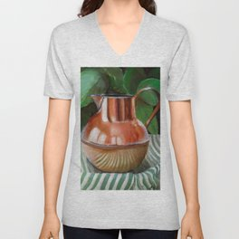 Copper Antique Pitcher Philodendron Unisex V-Neck