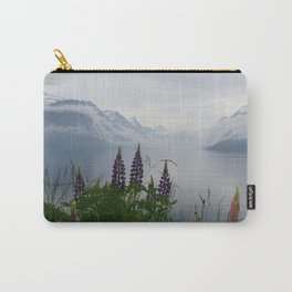 Lupine flowers with mountains landscape Carry-All Pouch