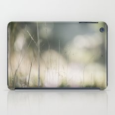 Detail of wild grass growing on a heath with early morning light. Norfolk, UK. iPad Case