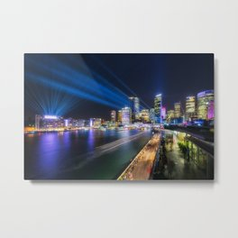 Laser Show above the Sydney Skyline Metal Print