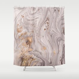 Pastel Marble with Golden Dust Shower Curtain