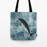 biology Tote Bags featuring Jackson the Narwhal by Amber Marine